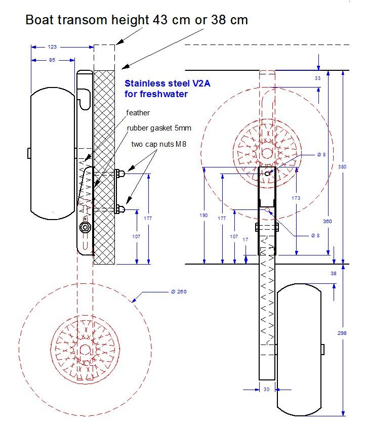 размер транцевых колес на пвх